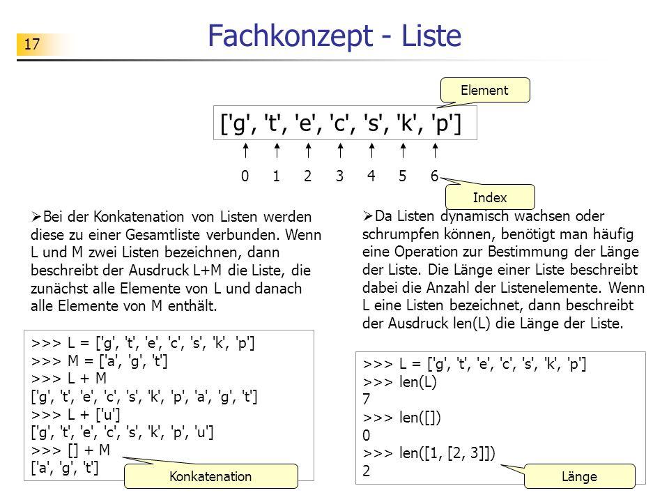 Fachkonzept - Liste [ g , t , e , c , s , k , p ] 1 2 3 4 5 6